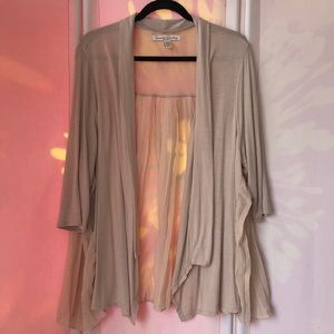 French Laundry Woman cardigan 3/4 sleeve open nude